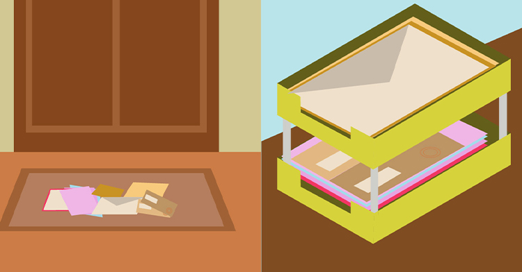 Sorting Mail from Doormat to intray