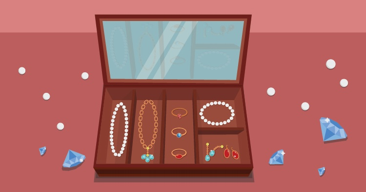 jewellery box with necklace, bracelets and earrings