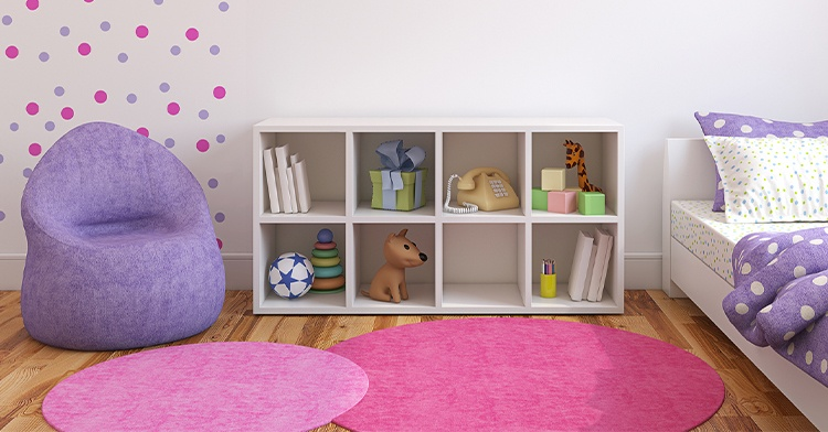 children's playroom with toys on a shelf