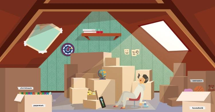overwhelmed man in loft