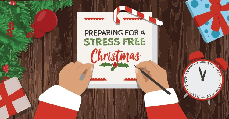 sign saying preparing for a stress free christmas in a christmas setting