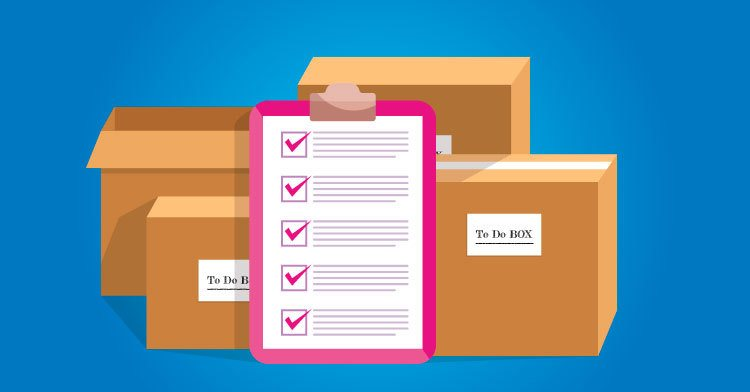 boxes and a to do list